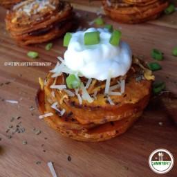 Garlic and Basil Sweet Potato Stacks