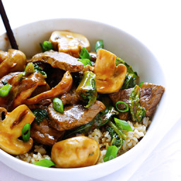 Ginger Beef, Mushroom & Kale Stir-Fry