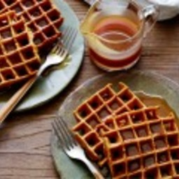 Gingerbread Pumpkin Waffles with Buttermilk-Rum Caramel Syrup