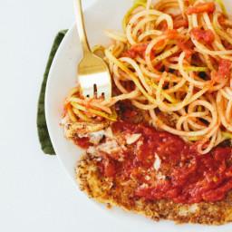 Gluten-Free Breaded Lemon Sole with Tomato Basil Chayote Pasta