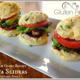 Gluten Free Cheesy Onion Biscuit BLTA Sliders with Mustard Aoili