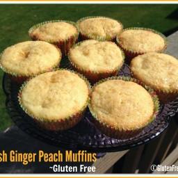 Gluten Free Fresh Peach Ginger Muffins
