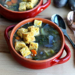 Gluten-Free Tuscan Turkey and White Bean Soup with Cornbread Croutons
