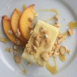 Gluten-Free Vanilla Bean Cheesecake with Honey, Peaches and Marcona Almonds