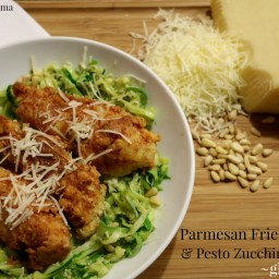 Gluten Free Parmesan Fried Chicken with Pesto Zucchini Noodles, Spaghettabl