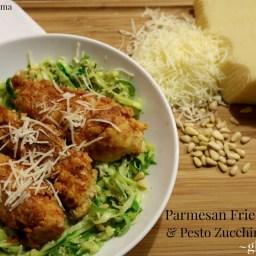 Gluten Free Parmesan Fried Chicken with Pesto Zucchini Noodles, Spaghettabl