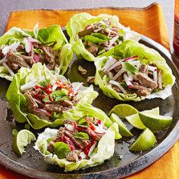 Gluten Free Pho-Flavor Flank Steak Lettuce Wraps