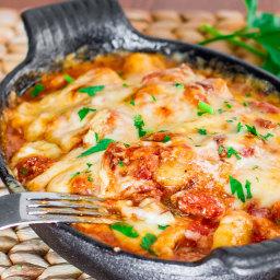 Gnocchi with Bacon, Tomato Sauce and Mozzarella