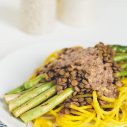 Golden Beet Pasta with Grilled Asparagus, Lentils and Roasted Garlic-Parmes