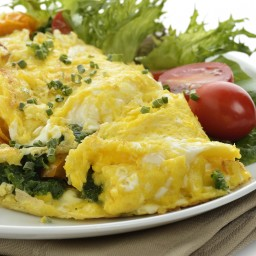 Greek Potato Spinach And Feta Cheese Omelet