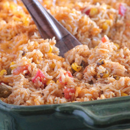 Green Chile Chicken Enchilada Rice Bake