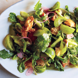Green Panzanella with Pickled Shallot