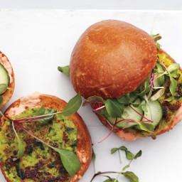 Green-Pea Burgers with Harissa Mayo