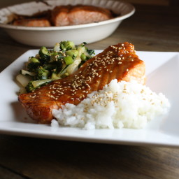 Green Asian Stir Fry with Miso Salmon