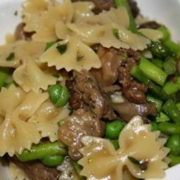 Grilled Asparagus with Morels, Spring Peas, And Bowtie Pasta