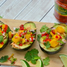 Grilled Avocados with Peruvian Chicken and Mango Salsa