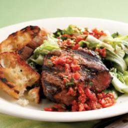 Grilled Beef Tenderloin and Escarole
