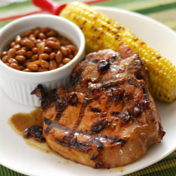 Grilled Bourbon and Cherry Pork Chops
