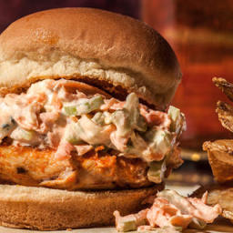 Grilled Buffalo Chicken Sliders Recipe & Carrot and Celery Slaw
