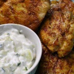 Grilled chicken thighs with curry and yogurt