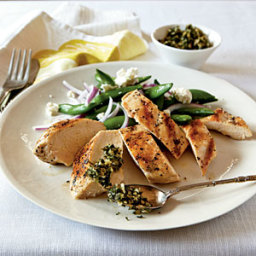 Grilled Chicken with Mint and Pine Nut Gremolata