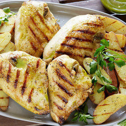 Grilled Chicken with Roasted Garlic-Oregano Vinaigrette and Grilled Fingerl