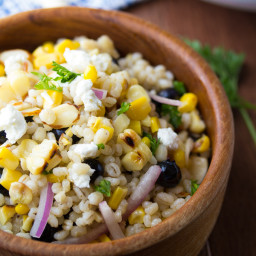 Grilled Corn and Barley Salad with Blueberries and Goat Cheese