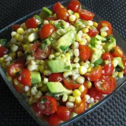 GRILLED CORN, AVOCADO AND TOMATO w/ HONEY LIME DRESSING