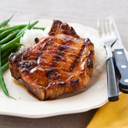 Grilled Glazed Pork Chops with Tarragon Sweet Potatoes CT p. 205