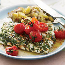 Grilled Halibut with Smashed Fingerlings and Tomato Butter