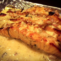 Grilled honey & lemon-glazed salmon with a creamy bacon & dill sauce