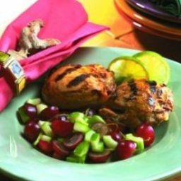 Grilled Honey Mustard Chicken Thighs With Grape and Lime Salsa
