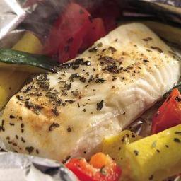 Grilled Lemon Pepper Halibut and Squash Foil Packets