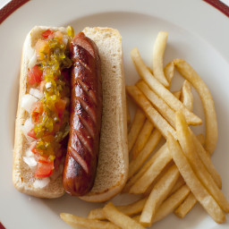 Grilled Link Hot Dogs with Homemade Pickle Relish