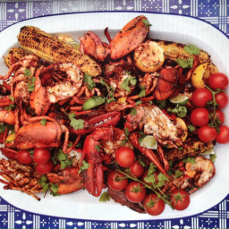 Grilled lobster and corn on the cob with sun dried chile butter