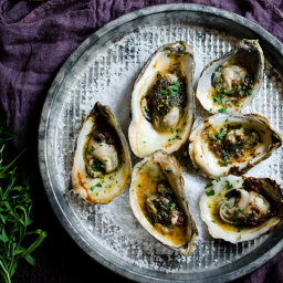 Grilled Oysters with Chipotle-Tarragon Butter and Gremolata