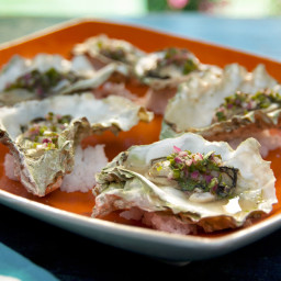 Grilled Oysters with Jalapeno-Herb Mignonette