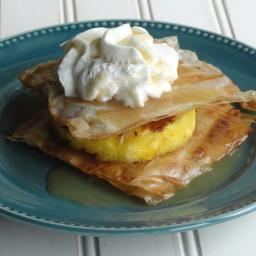 Grilled Pineapple Napoleons with Coconut Caramel Sauce