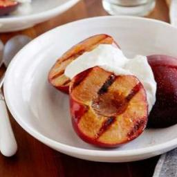Grilled Plums with Spiced Walnut Yogurt Sauce