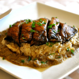 Grilled Portobello Mushroom over Mashed Cauliflower with Mushroom Gravy