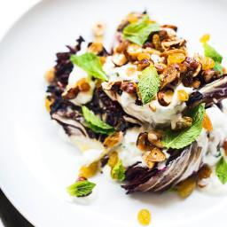Grilled Radicchio Salad with Yogurt and Hazelnuts