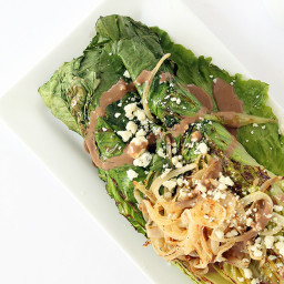 Grilled Romaine with Caramelized Onion Noodles, Blue Cheese and Greek Yogur