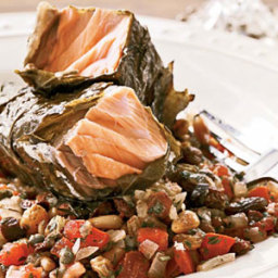 Grilled Salmon in Grape Leaves with Tomato-Raisin Relish