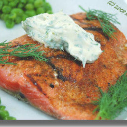 Grilled Salmon On Peas With Mint Mayonnaise