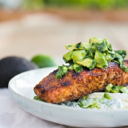 Grilled Salmon Salad with Avocado Cucumber Salsa