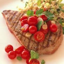 Grilled Salmon With Corn and Cherry Tomato Salsa