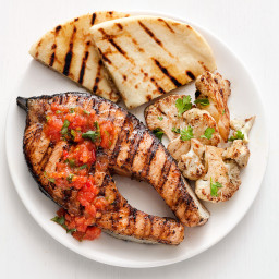 Grilled Salmon with Tomato-Ginger Sauce