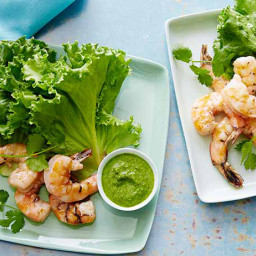 Grilled Shrimp in Lettuce Leaves with Serrano-Mint Sauce