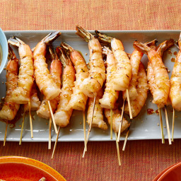 Grilled Shrimp Skewers with Soy Sauce, Fresh Ginger and Toasted Sesame Seed