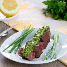 Grilled Sirloin with Lemon-Chive Pesto